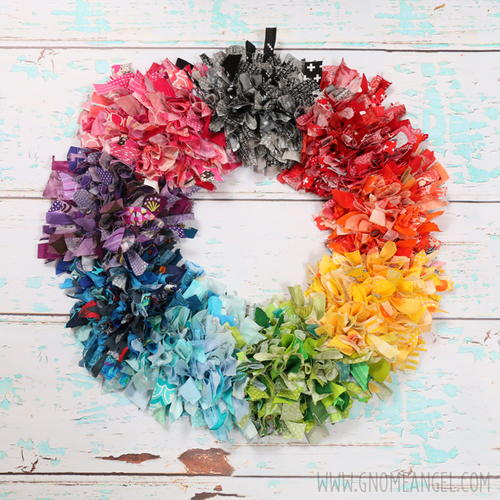 DIY Rainbow Fabric Scrap Rag Wreath