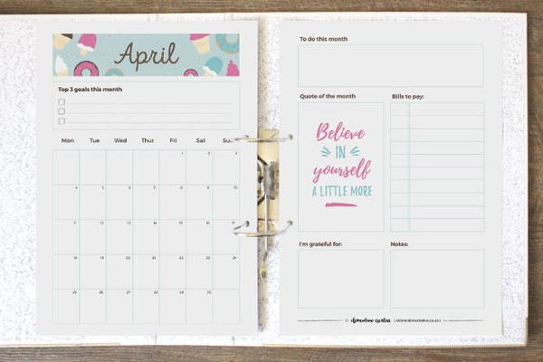 Printable Monthly Planner Page
