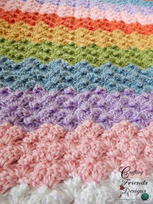 Peaked Rainbow Shells Afghan Allfreecrochetafghanpatterns