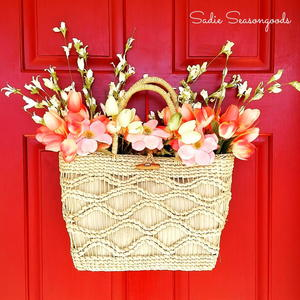 Straw Tote Spring Wreath