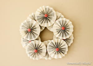 Spring Rosette Recycled Book Wreath