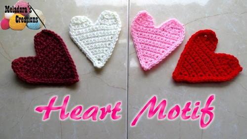 Simple Crochet Heart Motif Applique Allfreecrochet