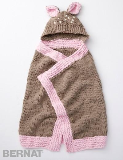 Knitting Pattern Baby Blanket With Hood : Oh Deer Baby Blanket AllFreeKnitting.com