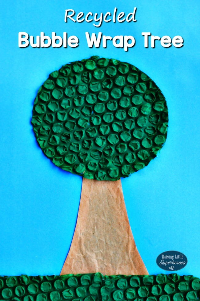 Recycled Bubble Wrap Tree Craft For Earth Day