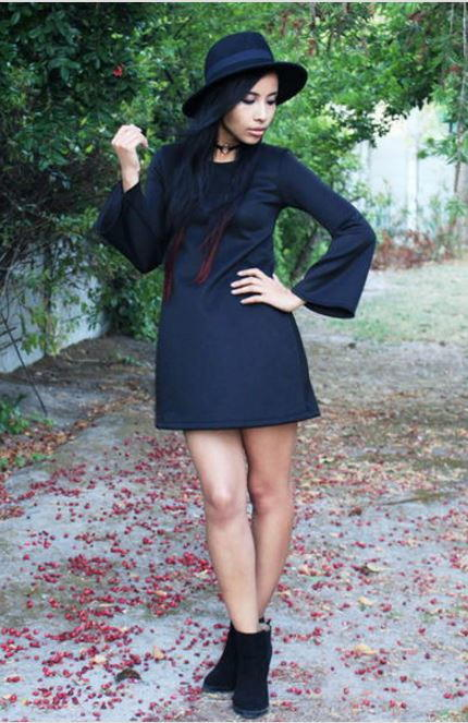 Diy Dress With Bell Sleeves Allfreesewing Com