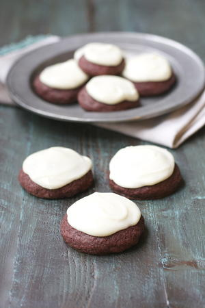 Red Velvet Cookies and Vanilla Cream Cheese Frosting