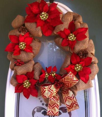 poinsettia burlap wreath - Christmas Burlap Wreath