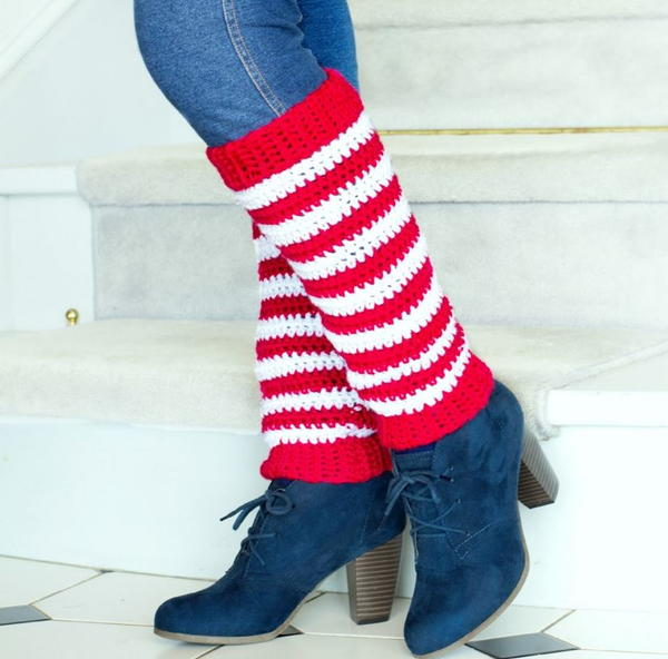 Crochet Candy Cane Leg Warmers