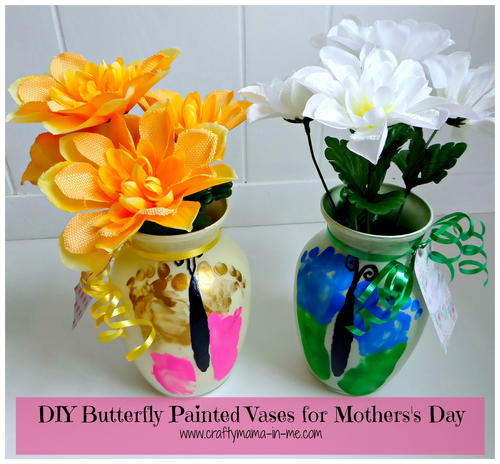 Diy Butterfly Painted Vases For Mothers Day Allfreekidscrafts