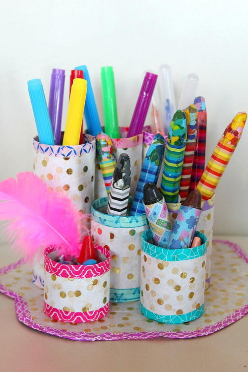 Diy Pencil Organizer With Recycled Paper Tubes