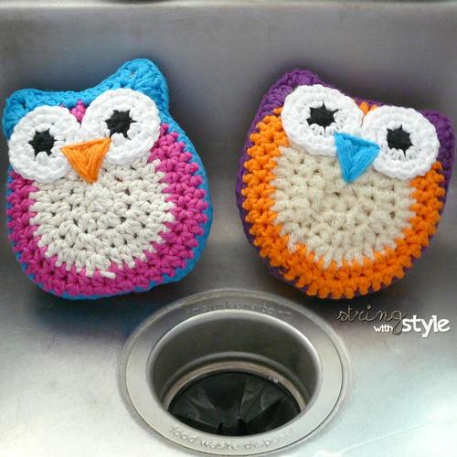 Owl Dish Scrubbie Allfreecrochet
