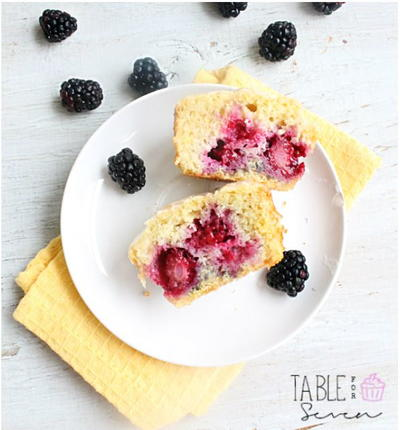 Southern Blackberry Muffins with Lemon Glaze