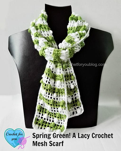 Spring Green! Lacy Crochet Mesh Scarf