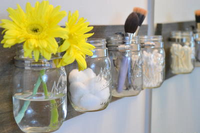 Marvelous Mason Jar DIY Bathroom Organizer