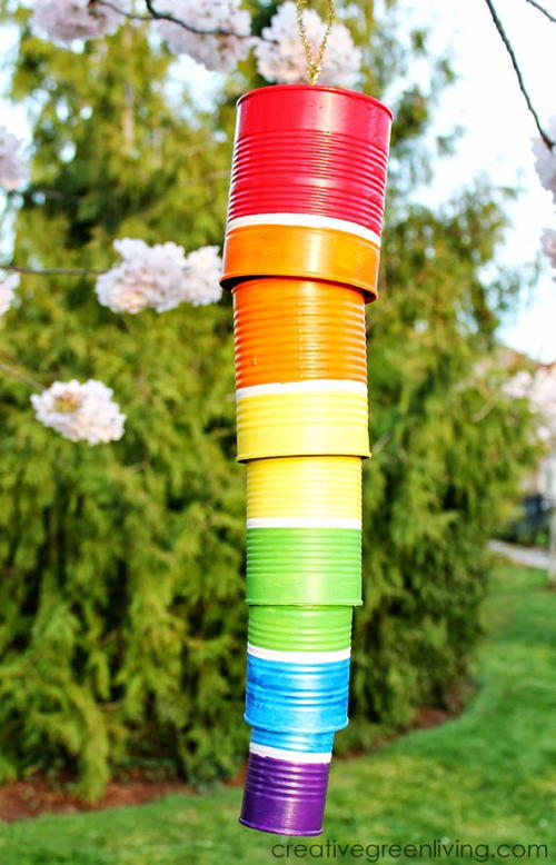 Tin can diy wind chime for Wind chime craft projects