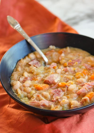 Southern Slow Cooker Ham and Navy Bean Soup