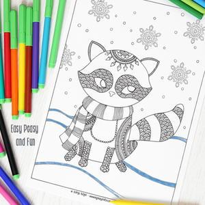 Sneaky Raccoon Coloring Sheet