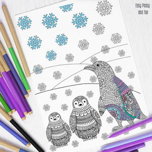 Peppy Penguin Adult Coloring Page Are My Friends Favorite Animals They So Cute Especially For The Holiday Season