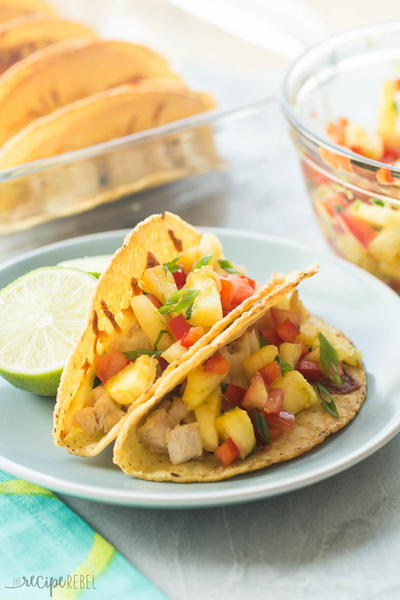 Hawaiian Chicken Tacos with Pineapple Salsa
