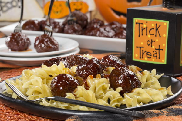 Ghoulish Glazed Meatballs
