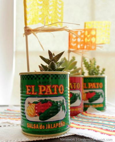 Salsa Can Recycled Planters
