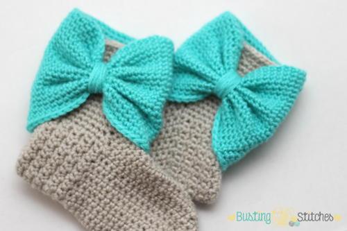 Crochet Bow Cuff Slipper Boots Allfreecrochet