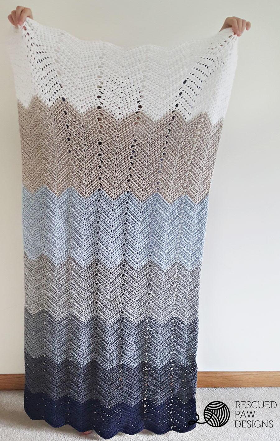Ombre Ripple Blanket   AllFreeCrochet.com