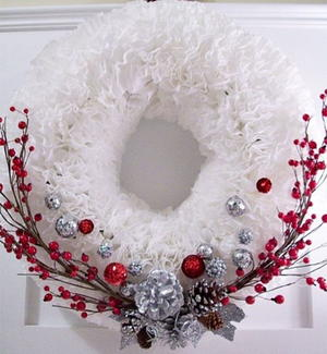 Winter Coffee Filter Wreath