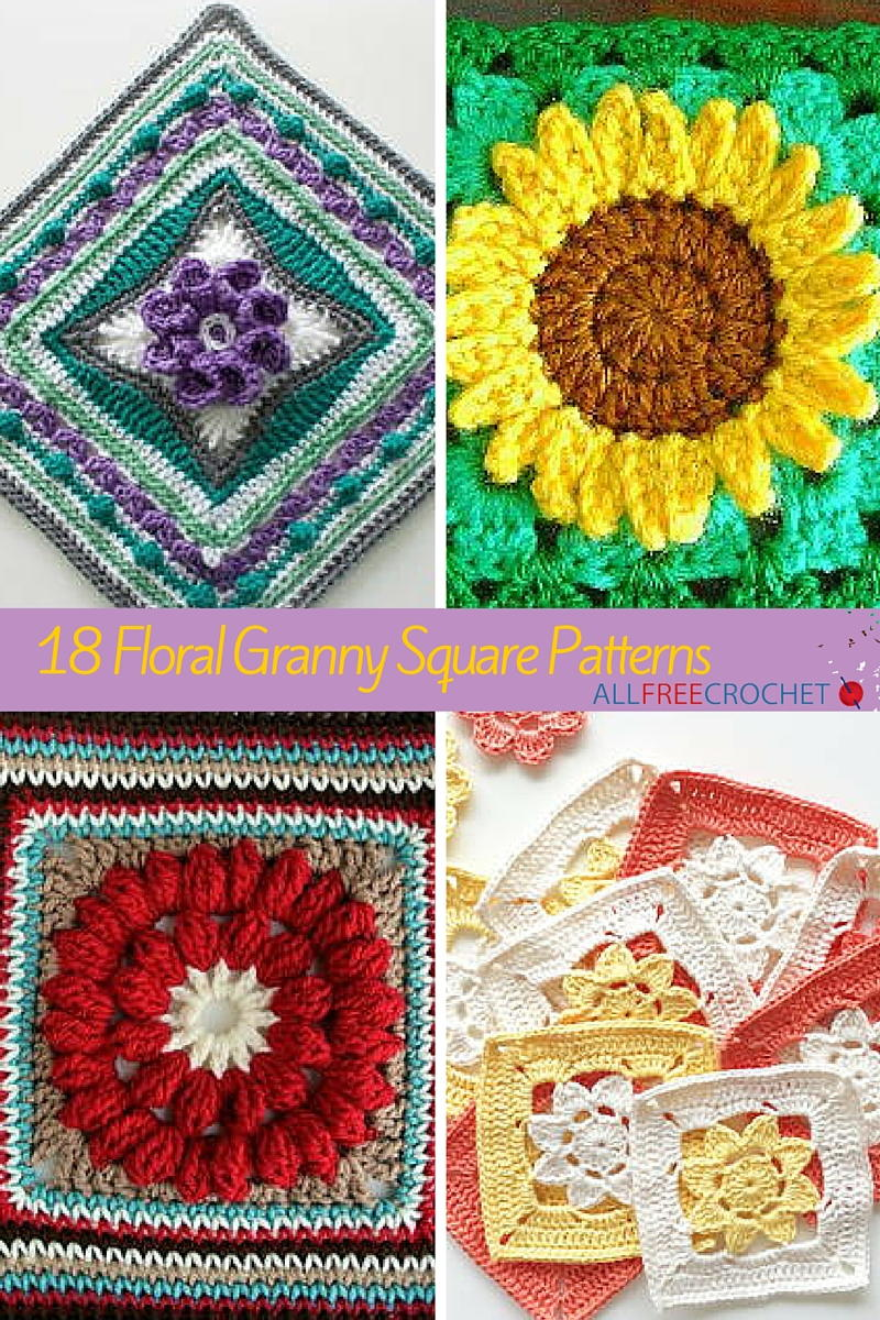 18 Floral Granny Square Patterns | AllFreeCrochet.com