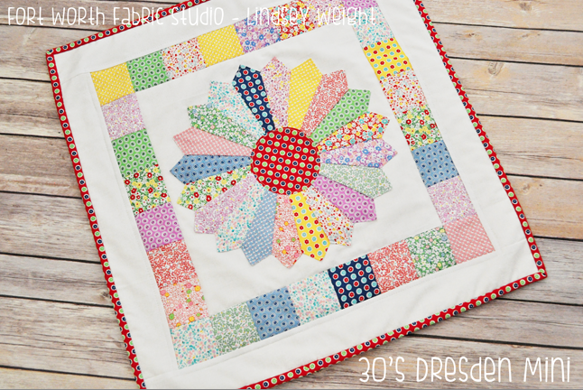 Dresden Quilt Patterns Free : 1930s Dresden Plate Mini Quilt FaveQuilts.com