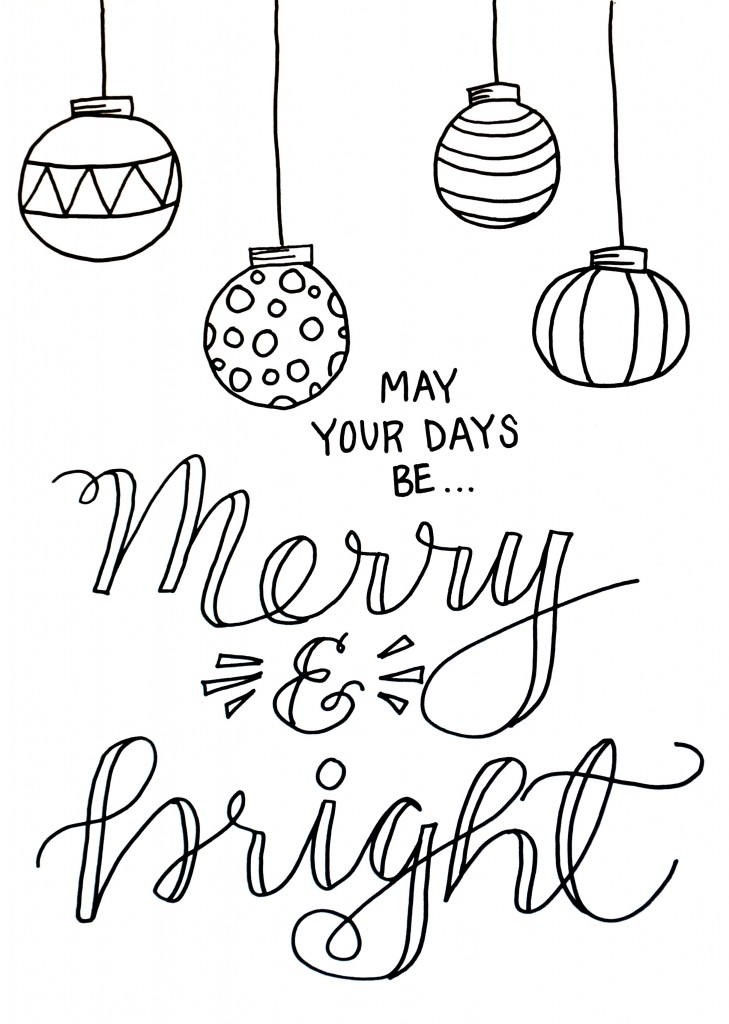 Merry and Bright Christmas Coloring