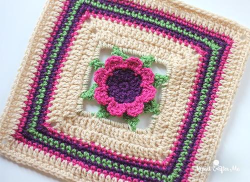 3d Crochet Flower Granny Square Allfreecrochetafghanpatterns