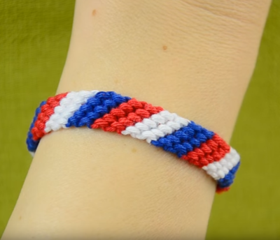 Patriotic Candy Stripe Friendship Bracelet