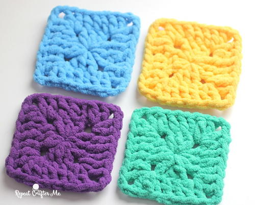 Bright and Bulky Crochet Granny Squares ...
