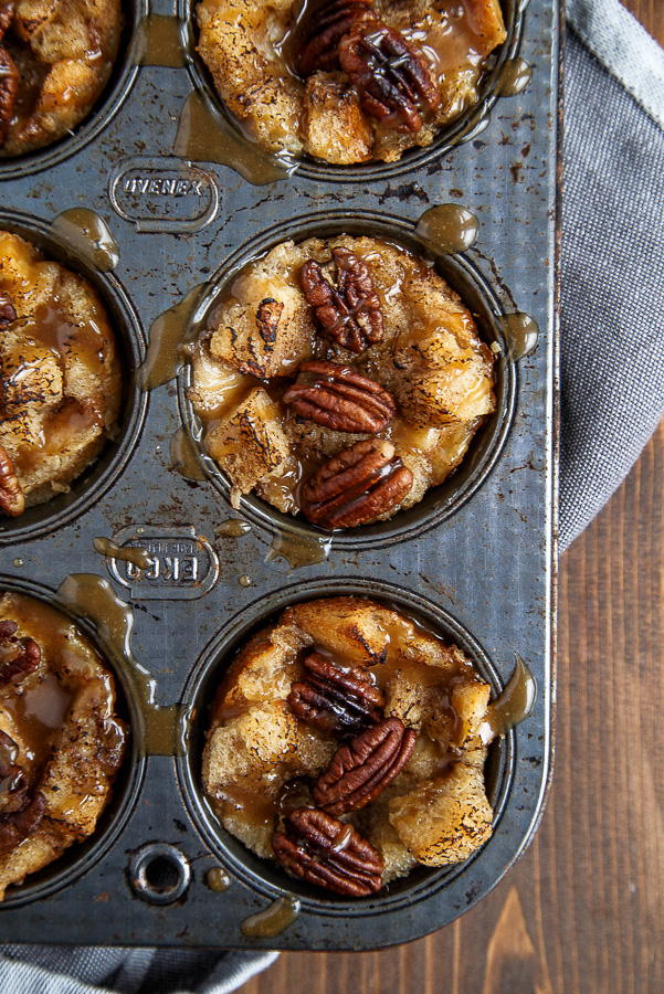 Mini Pecan Pie Bread Pudding Muffins | FaveSouthernRecipes.com