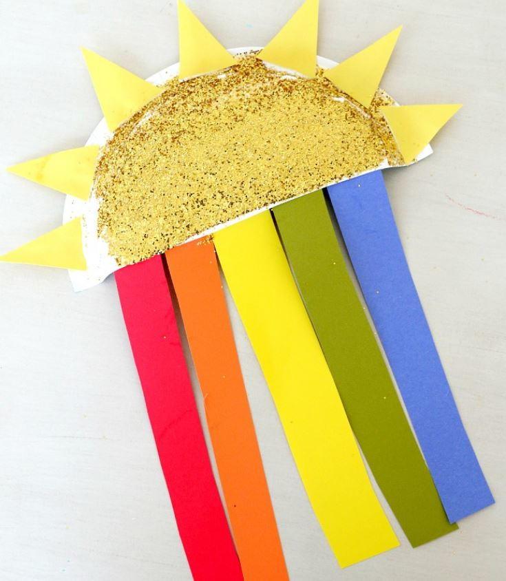 Sun And Rainbow Paper Plate Craft Allfreepapercrafts