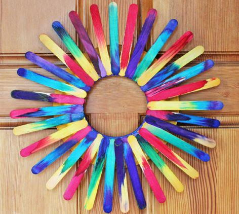 Tie-Dye Popsicle Stick Wreath