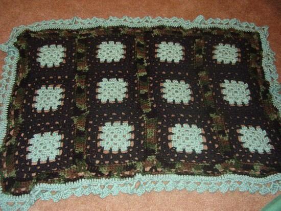 Pretty in Camo Crochet Blanket ...