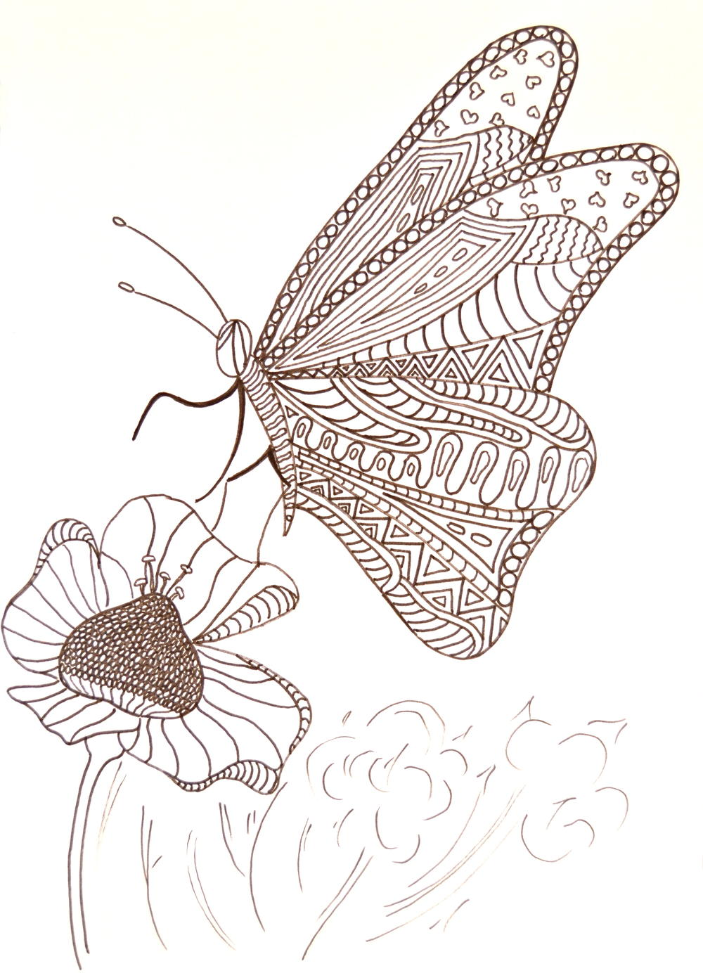Hungry Butterfly Adult Coloring Page | AllFreePaperCrafts.com