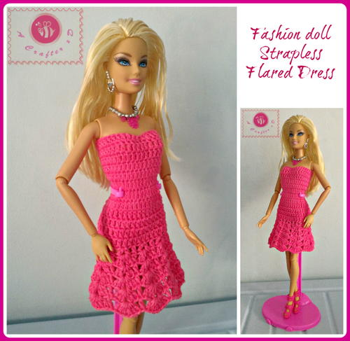 Fashion Doll Strapless Flared Dress | AllFreeCrochet.com