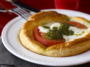 Buffalo Mozzarella, Tomato, and Pesto Tarts