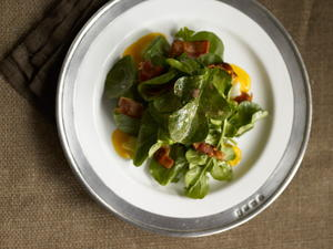 Soft-Boiled Egg Salad with Arugula and Pancetta