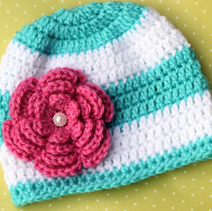 Stripes And Flower Crochet Beanie Pattern Allfreecrochet