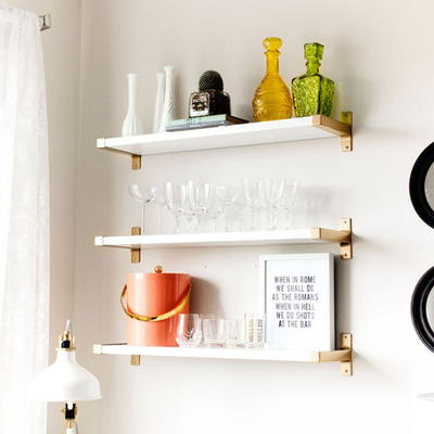 Metallic IKEA Hack Bar Shelves