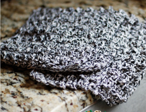 Grayscale Beginner's Crochet Dishcloth
