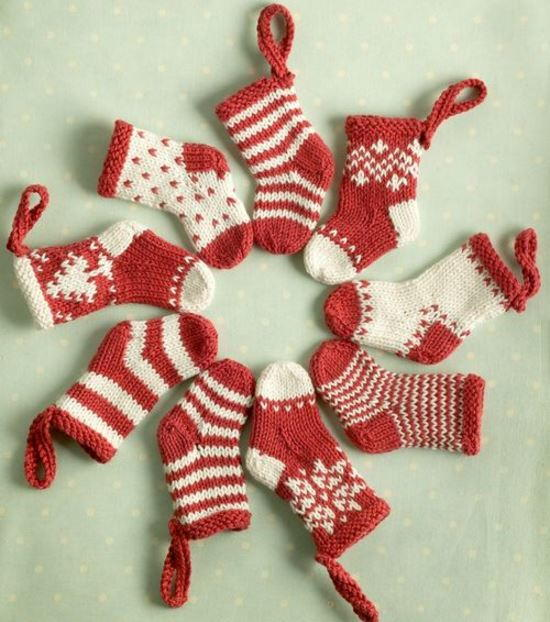 Knitted Mini Christmas Stockings | AllFreeChristmasCrafts.com
