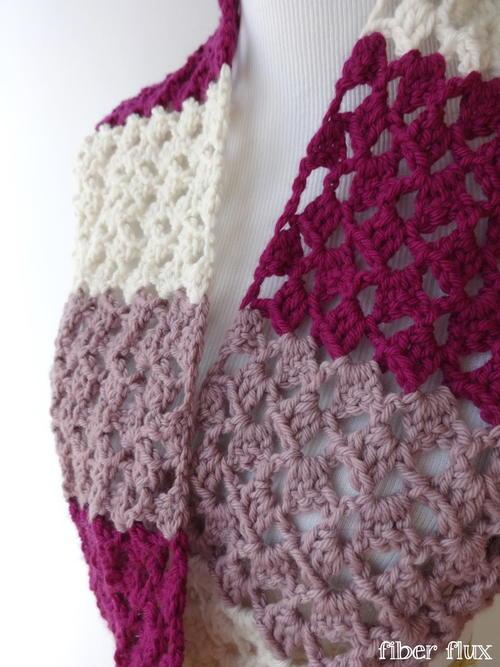 Striped Raspberry Crochet Infinity Scarf Allfreecrochet