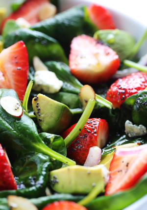 Avocado Strawberry Spinach Salad with Poppy Seed Dressing