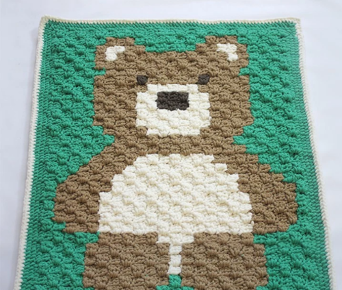 Cuddly Teddy Bear Crochet Baby Blanket Pattern