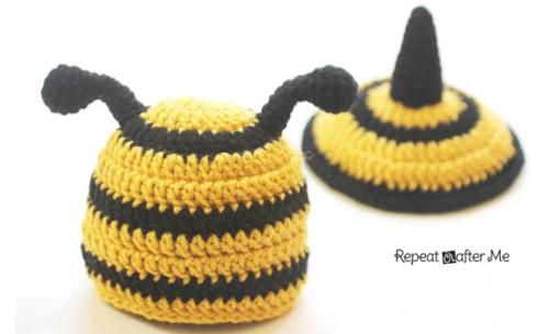 Bumble Bee Crochet Baby Beanie And Stinger Allfreecrochet